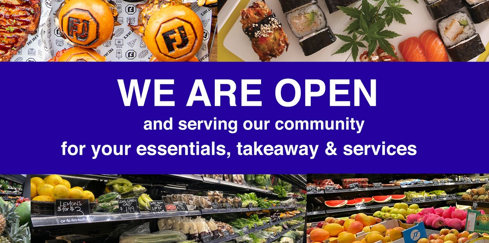 M-City is open banner groceries and takeaway